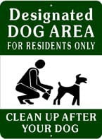 Designated Dog Area Sign